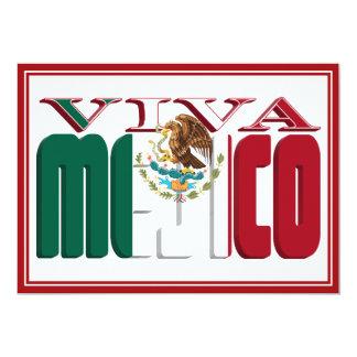 VIVA MEJICO Mexican Flag Text 5x7 Paper Invitation Card