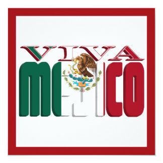 VIVA MEJICO Mexican Flag Text 5.25x5.25 Square Paper Invitation Card