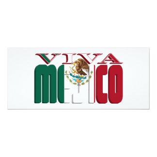 VIVA MEJICO Mexican Flag Text 4x9.25 Paper Invitation Card