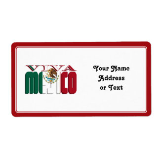 VIVA MEJICO Mexican Flag Text Shipping Label