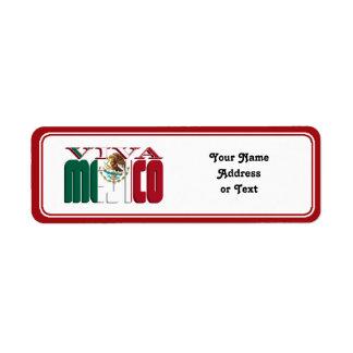 VIVA MEJICO Mexican Flag Text Return Address Label