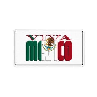VIVA MEJICO Mexican Flag Text Address Label