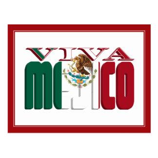 VIVA MEJICO Mexican Flag Text Postcard