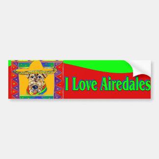 Viva México Airedale Pegatina De Parachoque