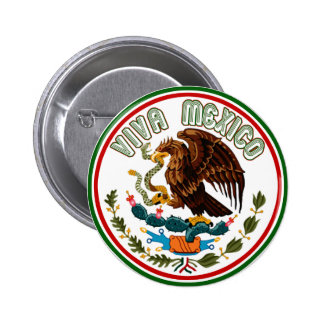 Viva México (Eagle de la bandera mexicana) Pin Redondo De 2 Pulgadas