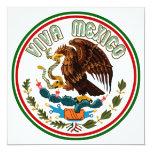 "Viva Mexico  (Eagle from Mexican Flag) 5.25"" Square Invitation Card"