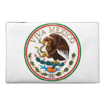 Viva Mexico Mexican Flag Icon w/ Gold Text Travel Accessories Bag