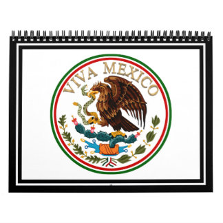 Viva Mexico Mexican Flag Icon w/ Gold Text Calendar