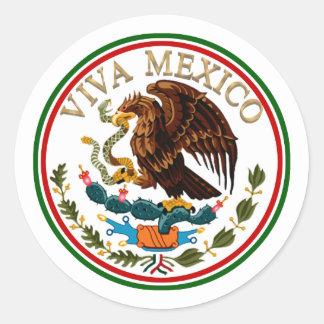 Viva Mexico Mexican Flag Icon w/ Gold Text Classic Round Sticker