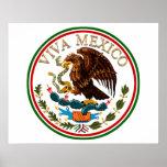 Viva Mexico Mexican Flag Icon w/ Gold Text Poster