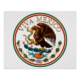 Viva Mexico Mexican Flag Icon w/ Gold Text Poster