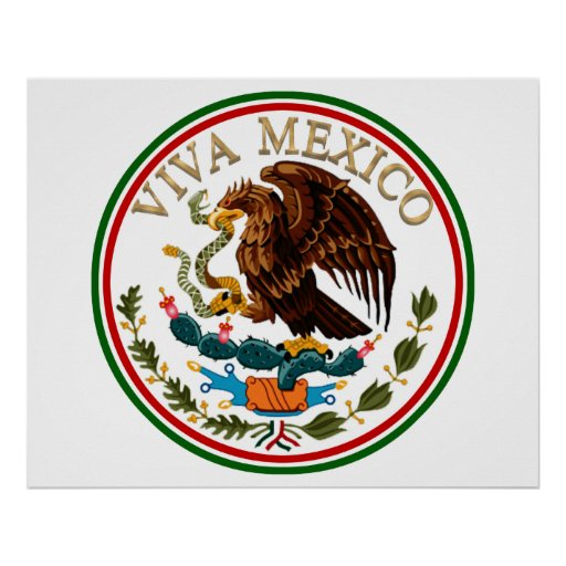 Viva Mexico Mexican Flag Icon w/ Gold Text Print