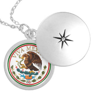 Viva Mexico Mexican Flag Icon w/ Gold Text Round Locket Necklace
