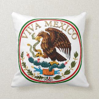 Viva Mexico Mexican Flag Icon w/ Gold Text Throw Pillow