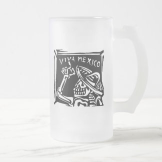 """Viva Mexico- Mexico's """"Day of the Dead"""" Frosted Glass Beer Mug"""