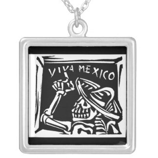 "Viva Mexico- Mexico's ""Day of the Dead"" Square Pendant Necklace"