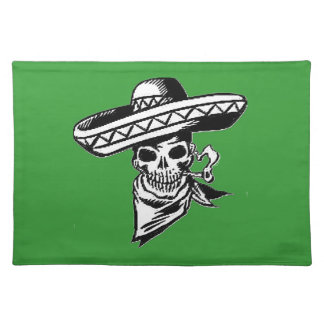 """""""Viva Mexico"""" skull with sombrero Cloth Placemat"""