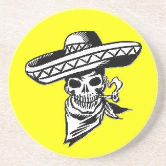 """""""Viva Mexico"""" skull with sombrero Drink Coaster"""