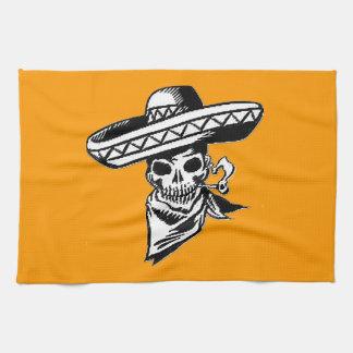 """Viva Mexico"" skull with sombrero Kitchen Towels"