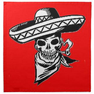 """""""Viva Mexico"""" skull with sombrero Napkin"""