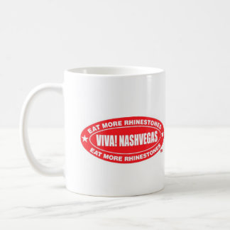 VIVA! NASHVEGAS eat more rhinestones TM Oval Coffee Mug