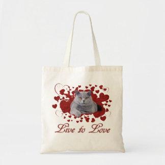 Viva para amar el gato bolsa tela barata
