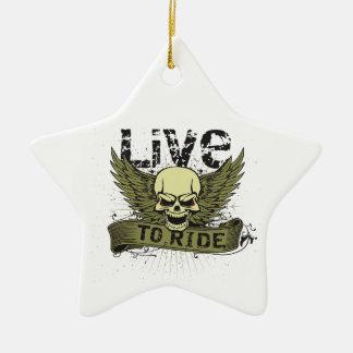 Viva para montar el cráneo con las alas adorno navideño de cerámica en forma de estrella