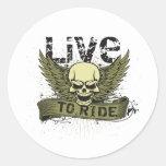 Viva para montar el cráneo con las alas etiquetas redondas