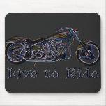Viva para montar la motocicleta de neón Mousepad Tapetes De Ratones