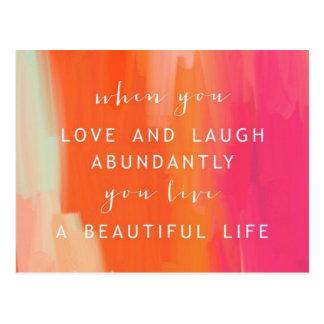 Viva y ame la postal de la vida