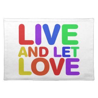 Viva y deje el amor mantel individual