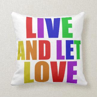 Viva y deje el arco iris del gay del amor almohadas