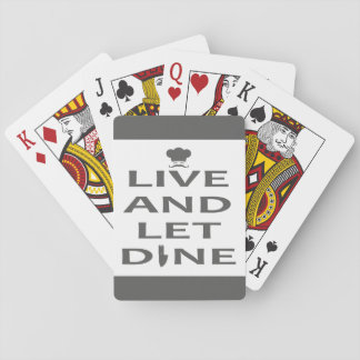 Viva y deje para cenar cartas de juego