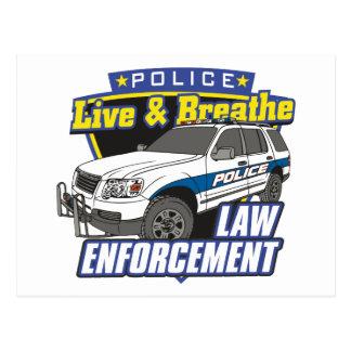 Viva y respire la aplicación de ley tarjetas postales