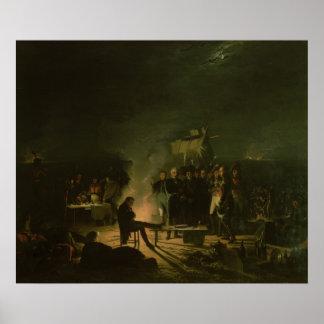 Vivac de Napoleon I en batalla del campo de batall Poster