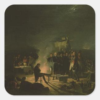 Vivac de Napoleon I en batalla del campo de Calcomanias Cuadradas