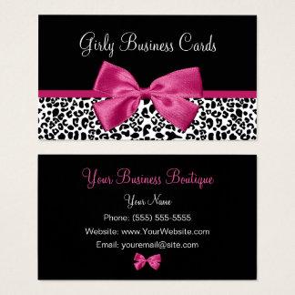 Vivacious Dark Pink Bow Leopard Print Boutique Business Card