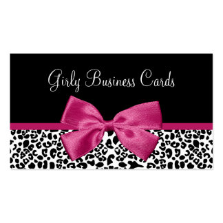 Vivacious Dark Pink Bow Leopard Print Boutique Double-Sided Standard Business Cards (Pack Of 100)