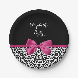 Vivacious Dark Pink Bow Leopard Print With Name Paper Plate