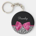 Vivacious Dark Pink Ribbon Fashion Leopard Print Keychain