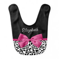 Vivacious Dark Pink Ribbon Leopard Print Baby Name Baby Bib