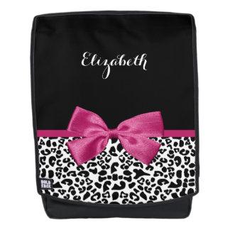 Vivacious Dark Pink Ribbon Leopard Print With Name Backpack