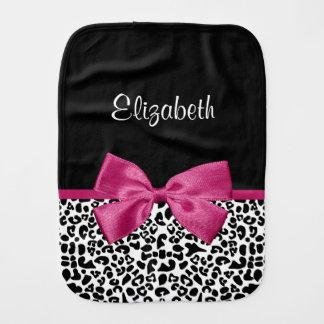 Vivacious Dark Pink Ribbon Leopard Print With Name Burp Cloth