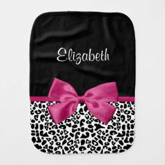 Vivacious Dark Pink Ribbon Leopard Print With Name Burp Cloths