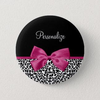 Vivacious Dark Pink Ribbon Leopard Print With Name Button