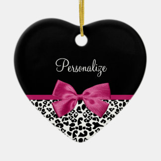 Vivacious Dark Pink Ribbon Leopard Print With Name Ceramic Ornament
