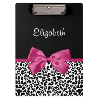 Vivacious Dark Pink Ribbon Leopard Print With Name Clipboard