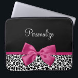 "Vivacious Dark Pink Ribbon Leopard Print With Name Computer Sleeve<br><div class=""desc"">A trendy black and white leopard print 15&#39;&#39; neoprene laptop sleeve with a vivacious dark pink ribbon tied into a cute girly bow. Personalize this chic and stylish animal pattern design by adding the name of your teen girl. Flat printed image,  not actual ribbon.</div>"
