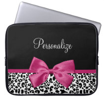 Vivacious Dark Pink Ribbon Leopard Print With Name Computer Sleeve