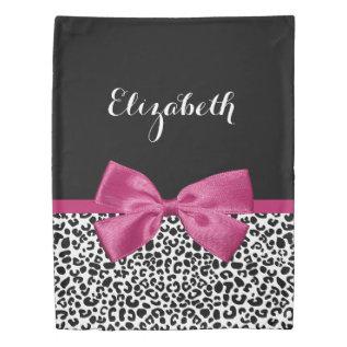 Vivacious Dark Pink Ribbon Leopard Print With Name Duvet Cover at Zazzle